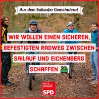 Wir wollen einen sicheren, befestigten Radweg zwischen Sailauf und Eichenberg schaffen.