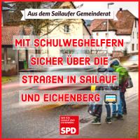 Mit Schulweghelfern sicher über die Straßen in Sailauf und Eichenberg